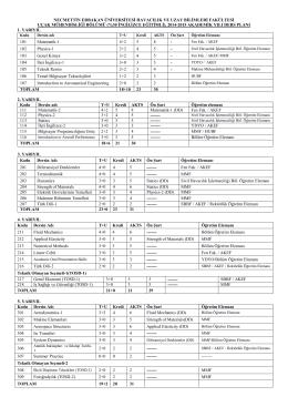 Uçak Mühendisliği Bölümü Ders Programı