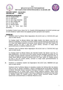 24/10/2013 Tıp Fakültesi Yönetim Kurulu Kararı