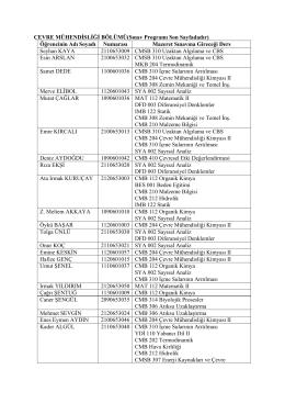 ÇEVRE MÜHENDİSLİĞİ BÖLÜMÜ(Sınav Programı Son Sayfadadır