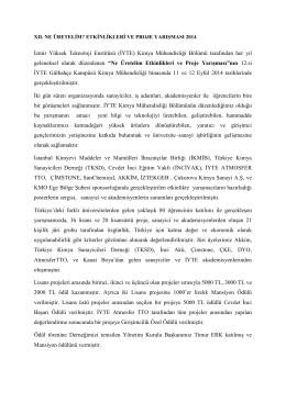 İzmir Yüksek Teknoloji Enstitüsü (İYTE) Kimya Mühendisliği Bölümü