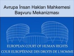 Avrupa İnsan Hakları Mahkemesi Başvuru Mekanizması