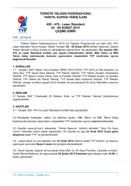 Yarıyıl Kupası-Çeşme 2015 - Türk Yelken Federasyonu