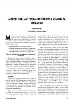 monoklonal antikorların transplantasyonda kullanımı