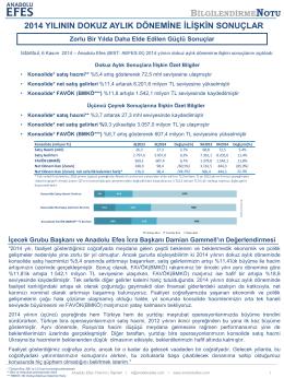AEFES 30.09.2014 Finansal Sonuçlar Bilgilendirme