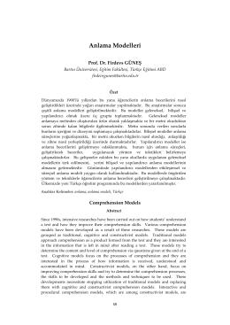 Anlama Modelleri - Dil ve Edebiyat Eğitimi Dergisi