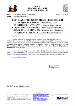 den Dış Ticaret Seminerleri - Akdeniz İhracatçı Birlikleri