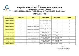 203-ÇGE 1. Sınıf - Ataşehir Adıgüzel Meslek Yüksekokulu