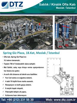 Spring Giz Plaza, 18.Kat, Maslak / İstanbul Satılık / Kiralık Ofis