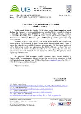 Türkiye Çek Cumhuriyeti İş Forumu Hk.