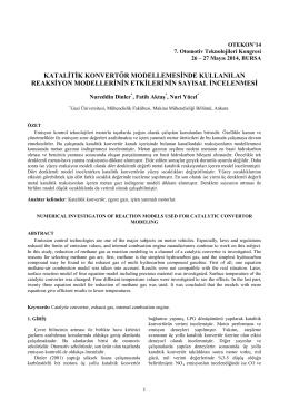 Katalitik Konvertör Modellemesinde Kullanilan Reaksiyon