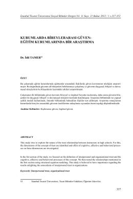 kurumlarda bireylerarası güven - İstanbul Ticaret Üniversitesi