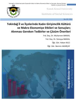Tekirdağ İl ve İlçelerinde Kadın Girişimcilik Kültürü ve Makro