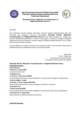 Ege Üniversitesi Eczacılık Fakültesi Farmasötik Teknoloji Anabilim