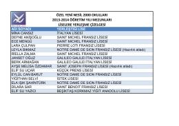 2013-2014 - Özel Yeni Nesil 2000 Okulları, Etiler, Beşiktaş, İstanbul