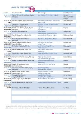 aralık ayı yemek listemiz - Özel Mavi Umut Etüt Merkezi