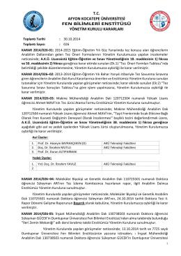T.C. AFYON KOCATEPE ÜNİVERSİTESİ FEN BİLİMLERİ