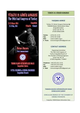 Birinci Duyuru - 19. Kömür Kongresi