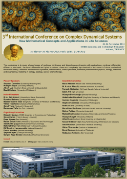 3 International Conference on Complex Dynamical Systems