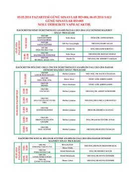 05.05.2014 pazartesi günü sınavlar bd