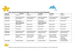 özel madalyon montessori kreş ve gbe haftalık ders programı