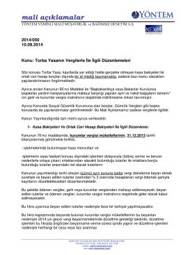 2014-050 Torba Yasanın Vergilerle İle İlgili Düzenlemeleri