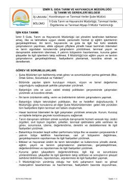 Koordinasyon ve Tarımsal Veriler Şube Müdürlüğü