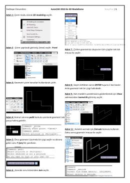 Yeditepe Ünivesitesi AutoCAD 2010 ile 3D Modelleme S a y f a    | 1