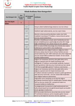 Klinik Kodlama Hata Kategorileri