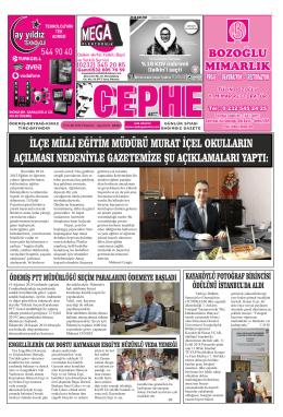 15.09.2014 Tarihli Cephe Gazetesi