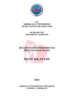 SINAV KILAVUZU - Kırıkkale Üniversitesi Güzel Sanatlar Fakültesi