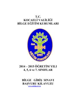 TC KOCAELİ VALİLİĞİ BİLGE EĞİTİM KURUMLARI 2014