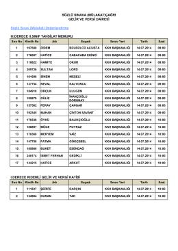 gelir ve vergi dairesi sınava katılacakların listesi