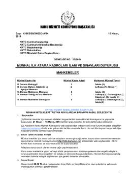 Mahkemeler Münhal İlanı - Kamu Hizmeti Komisyonu