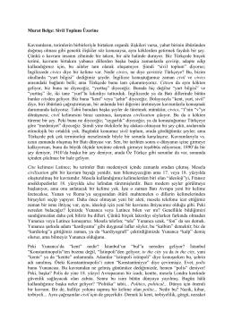 Murat Belge: Sivil Toplum Üzerine Kavramların, terimlerin