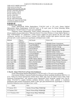 30.06.2014 tarih 396 nolu Toplu Yönetim Kurulu