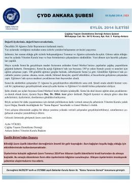 Eylül 2014 İletisi - ÇYDD Ankara Şubesi