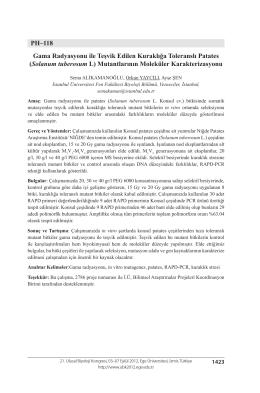 PH–118 Gama Radyasyonu ile Teşvik Edilen Kuraklığa Toleranslı