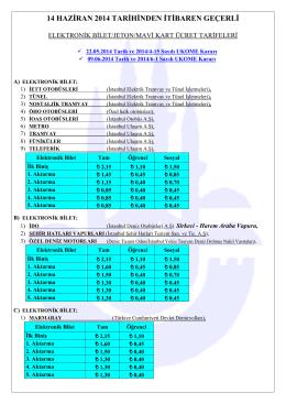 Elektronik Bilet, Jeton ve Mavi Kart Ücret Tarifeleri