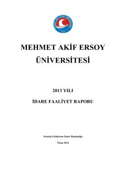 2013 Yılı İdare Faaliyet Raporu - Mehmet Akif Ersoy Üniversitesi