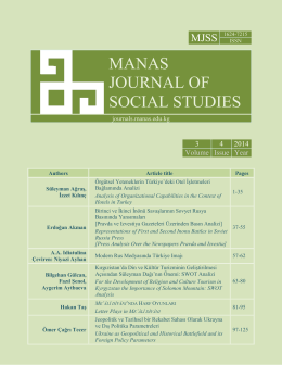 Manas Journal of Social Studies (MJSS)