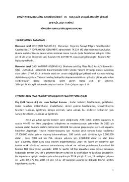 Birlesme Raporu 19 Eylul 2014 - Anasayfa / Koç Çelik Sanayi A.Ş