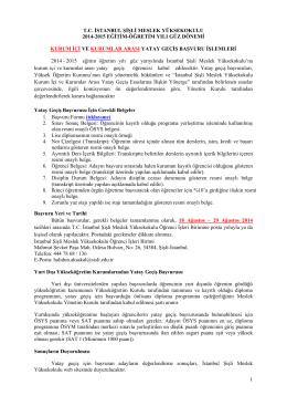 Kurumiçi ve Kurumlararası Yatay Geçiş Hakkında Duyuru 25/07/2014