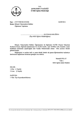 01.10.2014 Tarihli BTR Öğretmenleri Toplantısı