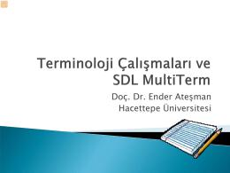 Terminoloji Çalışmaları ve SDL Multiterm