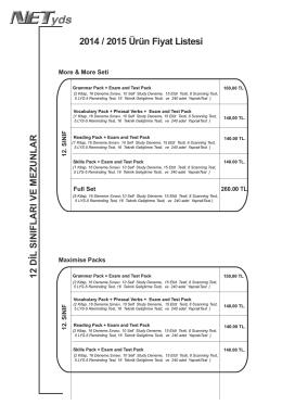 2014 / 2015 Ürün Fiyat Listesi