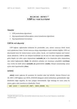 BLGM 343 – DENEY 7* Amaçlar UDP ile veri alışverişi socket()