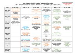 2014-2015 GÜZ YARIYILI FİNAL PROGRAMI