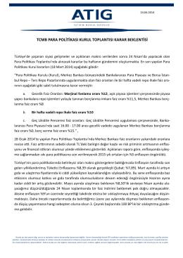 tcmb para politikası kurul toplantısı karar beklentisi