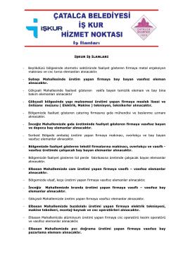 İŞKUR İŞ İLANLARI - Çatalca Belediyesi