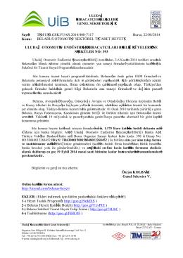 Sayı: TİM.UİB.GSK.FUAR.2014/400-7117 Bursa, 22/08/2014 Konu